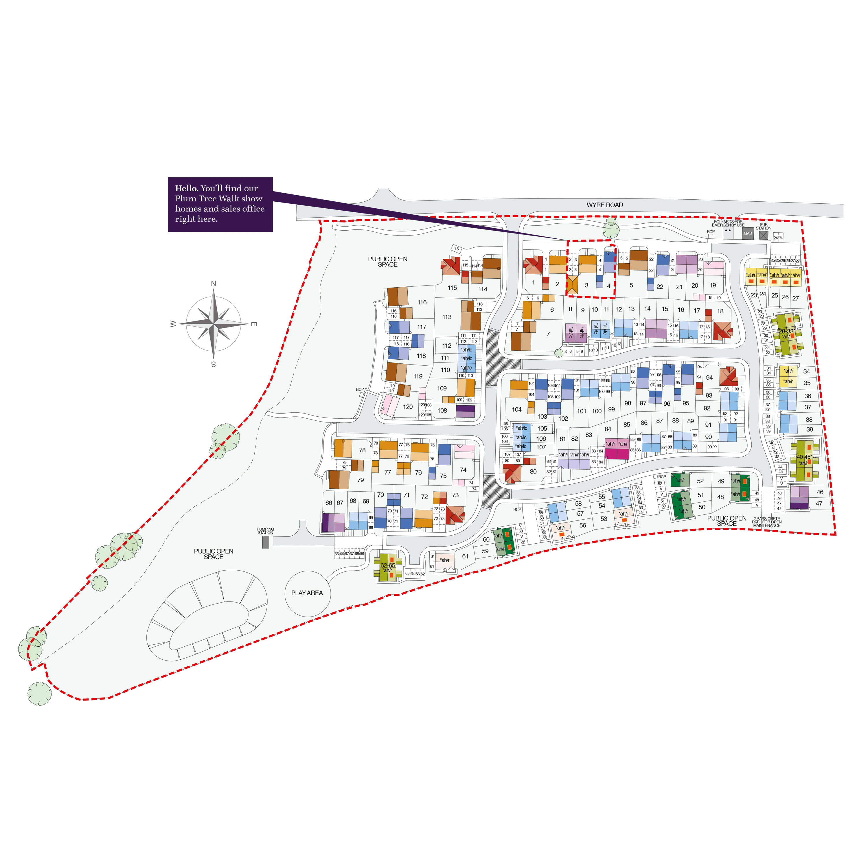 Plum Tree Walk Site Map