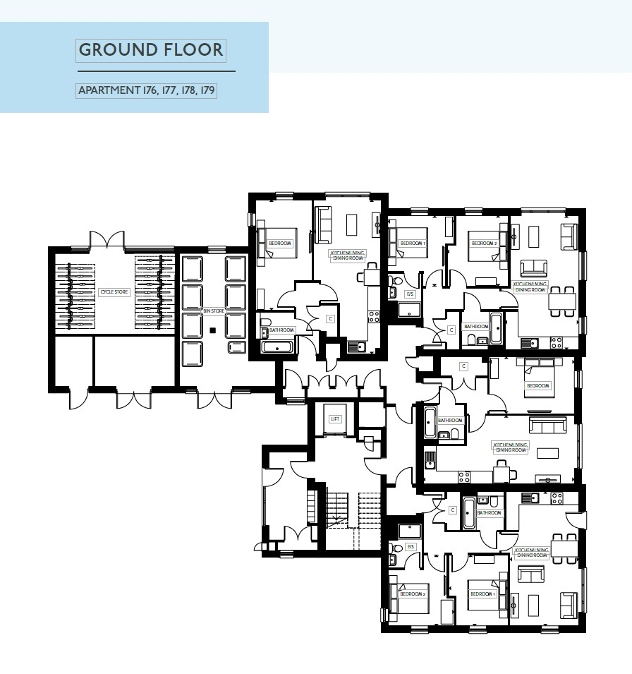 Wellington House - 1 bed Apartment - Floor Plan